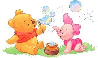 Winnie et porcinnet bébés faisant des bulles